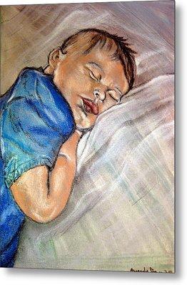 Metal Print featuring the pastel baby Baptism by Amanda Dinan