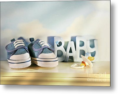 Baby Denim Shoes Metal Print