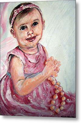 Metal Print featuring the painting Baby Girl 2 by Amanda Dinan