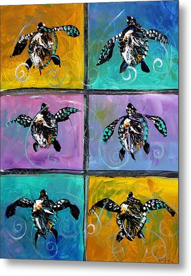 Baby Sea Turtles Six Metal Print by J Vincent Scarpace