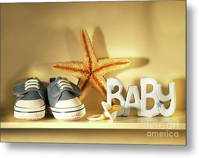 Baby Shoes On The Shelf Metal Print by Sandra Cunningham