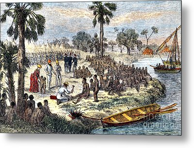 Baker Liberating Slaves In Africa, 1869 Metal Print by Photo Researchers