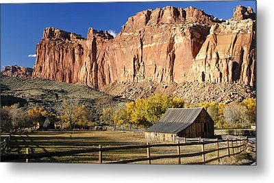 Metal Print featuring the photograph Barn At Capital Reef by Geraldine Alexander