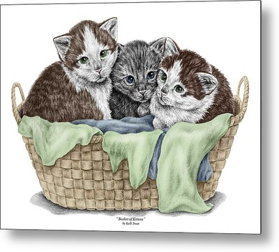 Metal Print featuring the drawing Basket Of Kittens - Cats Art Print Color Tinted by Kelli Swan
