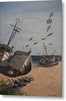 Beached Boats Metal Print