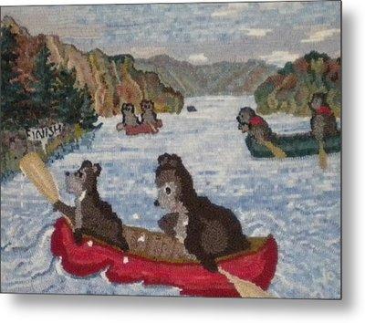 Bears In Canoes Metal Print by Brenda Ticehurst