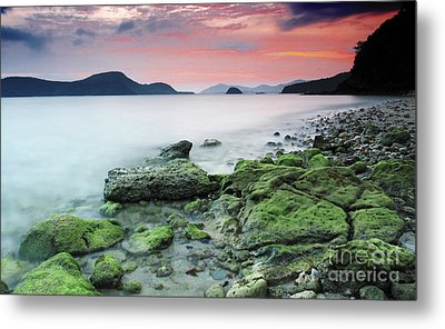 Beautiful Rocky Coastal Sunset  Metal Print