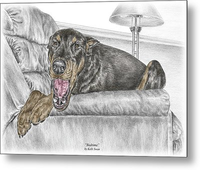 Metal Print featuring the drawing Bedtime - Doberman Pinscher Dog Print Color Tinted by Kelli Swan