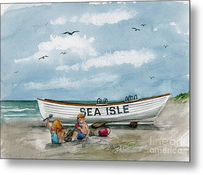 Metal Print featuring the painting Best Buddies In Sea Isle  by Nancy Patterson