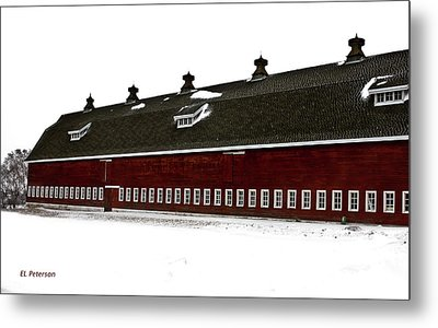 Big Red Barn In Winter Metal Print by Edward Peterson