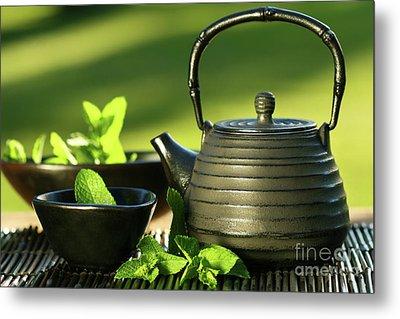 Black Asian Teapot With Mint Tea Metal Print by Sandra Cunningham