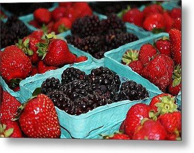 Blackberries And Strawberries Metal Print by Cathie Tyler