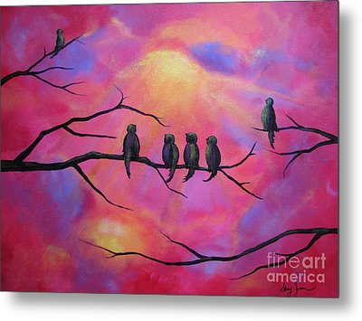 Metal Print featuring the painting Blazing Ruby Sky by Stacey Zimmerman