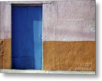Metal Print featuring the photograph Blue Door Cozumel Mexico by John  Mitchell