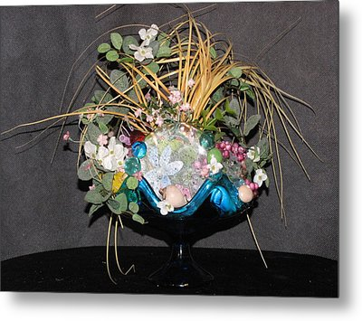 Blue Glass Arrangement Metal Print by HollyWood Creation By linda zanini