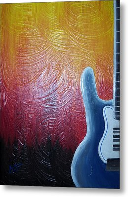 Metal Print featuring the painting Blue Over Fire by Edwin Alverio