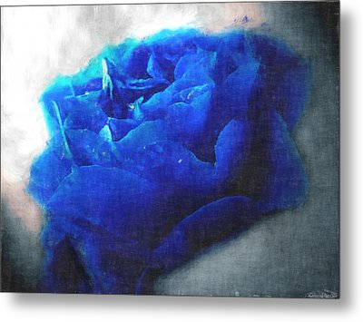 Metal Print featuring the digital art Blue Rose by Debbie Portwood
