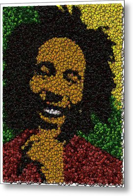 Bob Marley Bottle Cap Mosaic Metal Print by Paul Van Scott