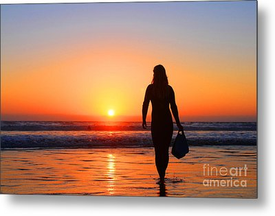 Bodysurfer At Dusk Metal Print by Sabino Cruz
