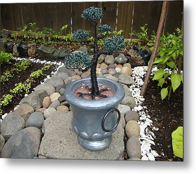 Bonsai Tree Medium Silver Vase Metal Print by Scott Faucett