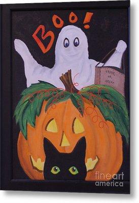 Boo-happy Halloween Metal Print by Janna Columbus
