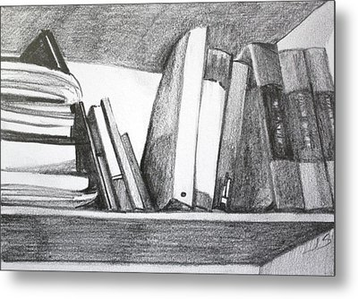 Books On A Shelf Metal Print