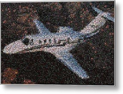 Bottle Cap Cessna Citation Mosaic Metal Print by Paul Van Scott
