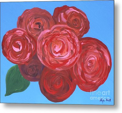 Metal Print featuring the painting Bouquet Of Roses by Alys Caviness-Gober