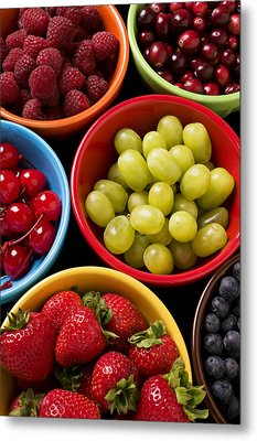 Bowls Of Fruit Metal Print by Garry Gay