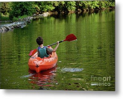 Boy Kayaking In River Metal Print by Sami Sarkis