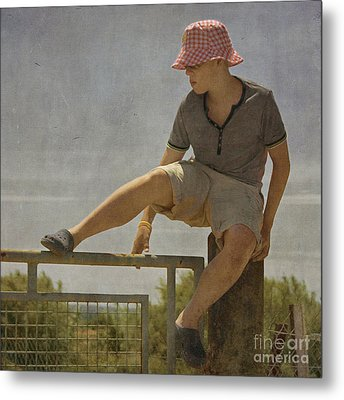 Boy On A Fence Waiting For Lance Armstrong Metal Print by Paul Grand