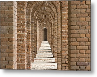 Brick Arches At Fort Jefferson In Dry Metal Print