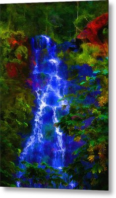 Metal Print featuring the painting Bridal Veil Falls by Michael Cleere