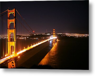 Bridge At Night Metal Print by Michael Courtney