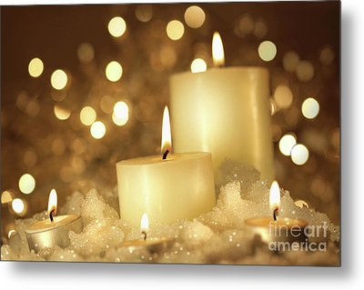 Brightly Lit Candles In Wet Snow Metal Print by Sandra Cunningham