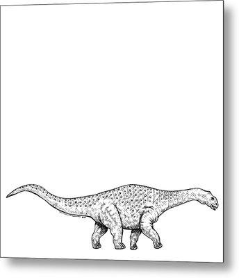 Brontonsaurs - Dinosaur Metal Print by Karl Addison