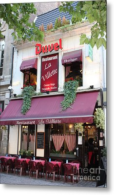 Brussels - Restaurant La Villette With Trees Metal Print