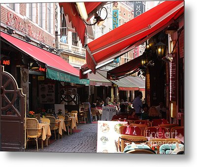 Brussels Restaurant Street - Rue De Bouchers Metal Print by Carol Groenen