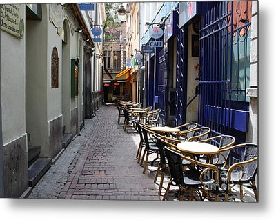 Brussels Side Street Cafe Metal Print