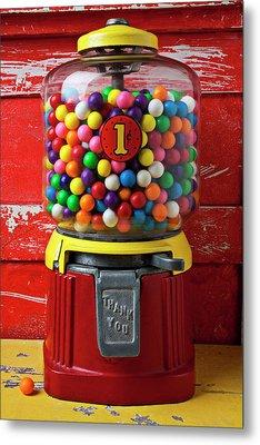 Bubblegum Machine And Gum Metal Print by Garry Gay