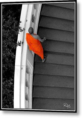 Buddhist Monks Climb Up The Golden Mountain Metal Print by Allan Rufus