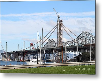 Building The New San Francisco Oakland Bay Bridge 7d7775 Metal Print by Wingsdomain Art and Photography