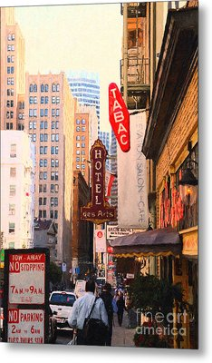 Bush Street In San Francisco Metal Print by Wingsdomain Art and Photography