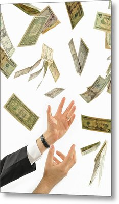 Businessman's Hands Trying To Catch Us Dollars Metal Print by Sami Sarkis