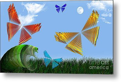 Butterflies Are Free To Fly Metal Print by Andee Design