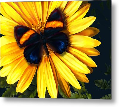 Butterfly On Yellow Metal Print by Virginia Palomeque