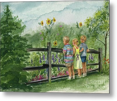 Metal Print featuring the painting By The Garden Fence  by Nancy Patterson