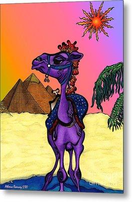 Camel In Giza Metal Print