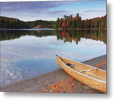 Canoe On A Shore Autumn Nature Scenery Metal Print by Oleksiy Maksymenko