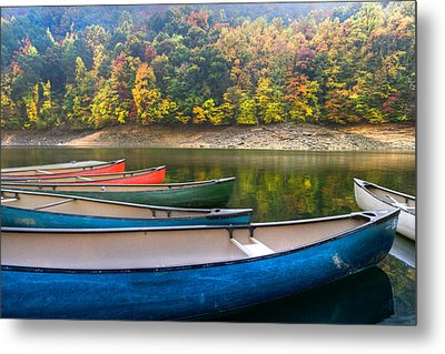 Canoes At Fontana Metal Print by Debra and Dave Vanderlaan
